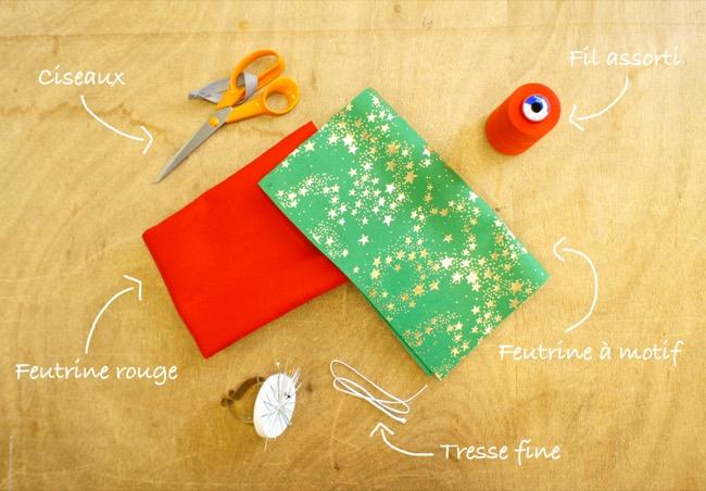 Fournitures DIY tutoriel Botte de Noël