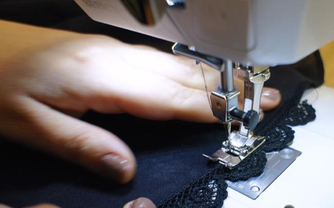 DIY jupe cercle avec ourlet dentelle